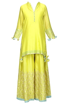Lime Green Embroidered Kurta with Sharara Pants Set