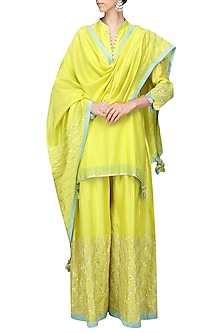 Lime Green Embroidered Kurta with Sharara Pants Set by The Silk Tree