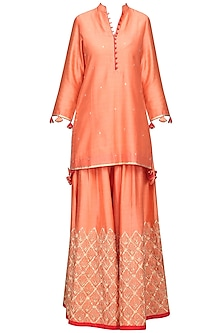 Peach Embroidered Kurta with Sharara Pants Set