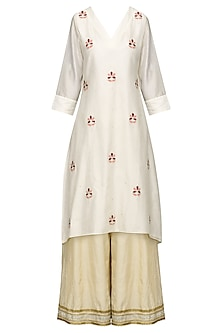 Ivory Embroidered High-Low Kurta with Sharara Pants Set