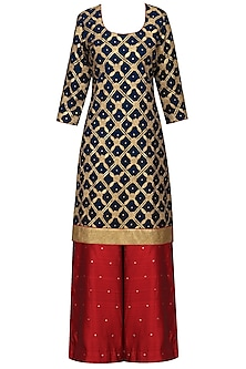Midnight Blue Embroidered Kurta with Red Sharara Pants Set