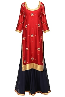 Red and Midnight Blue Embroidered Kurta with Sharara Pants Set