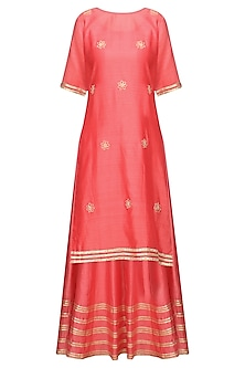 Coral Embroidered Anarkali Gown Set