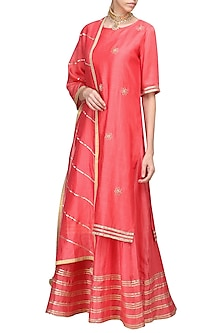 Coral Embroidered Anarkali Gown Set by The Silk Tree