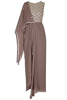 Ash Rose Draped Embellished Gown by Seema Thukral