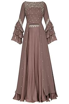 Ash Rose Glass Beads Embellished Blouse with Lehenga Skirt