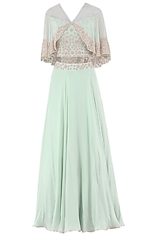 Pistachio Green Embroidered Crop Top with Attached Cape and Skirt Set
