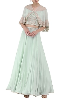 Pistachio Green Embroidered Crop Top with Attached Cape and Skirt Set by Seema Thukral