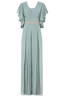 Pebble Green Embroidered Draped Jumpsuit