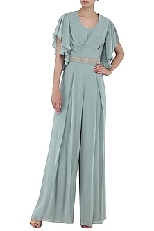 Pebble Green Embroidered Draped Jumpsuit by Seema Thukral