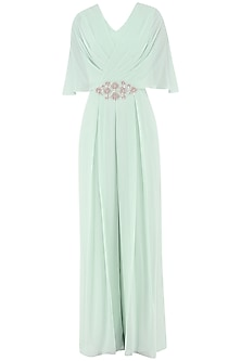 Pistachio Green Embroidered Draped Jumpsuit