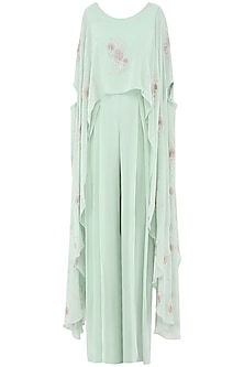 Pistachio Green Jumpsuit with Embroidered Cape by Seema Thukral