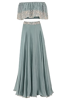 Pebble Green Embroidered Off Shoulder Crop Top with Skirt Set