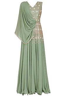 Olive Green Embroidered Cape Gown