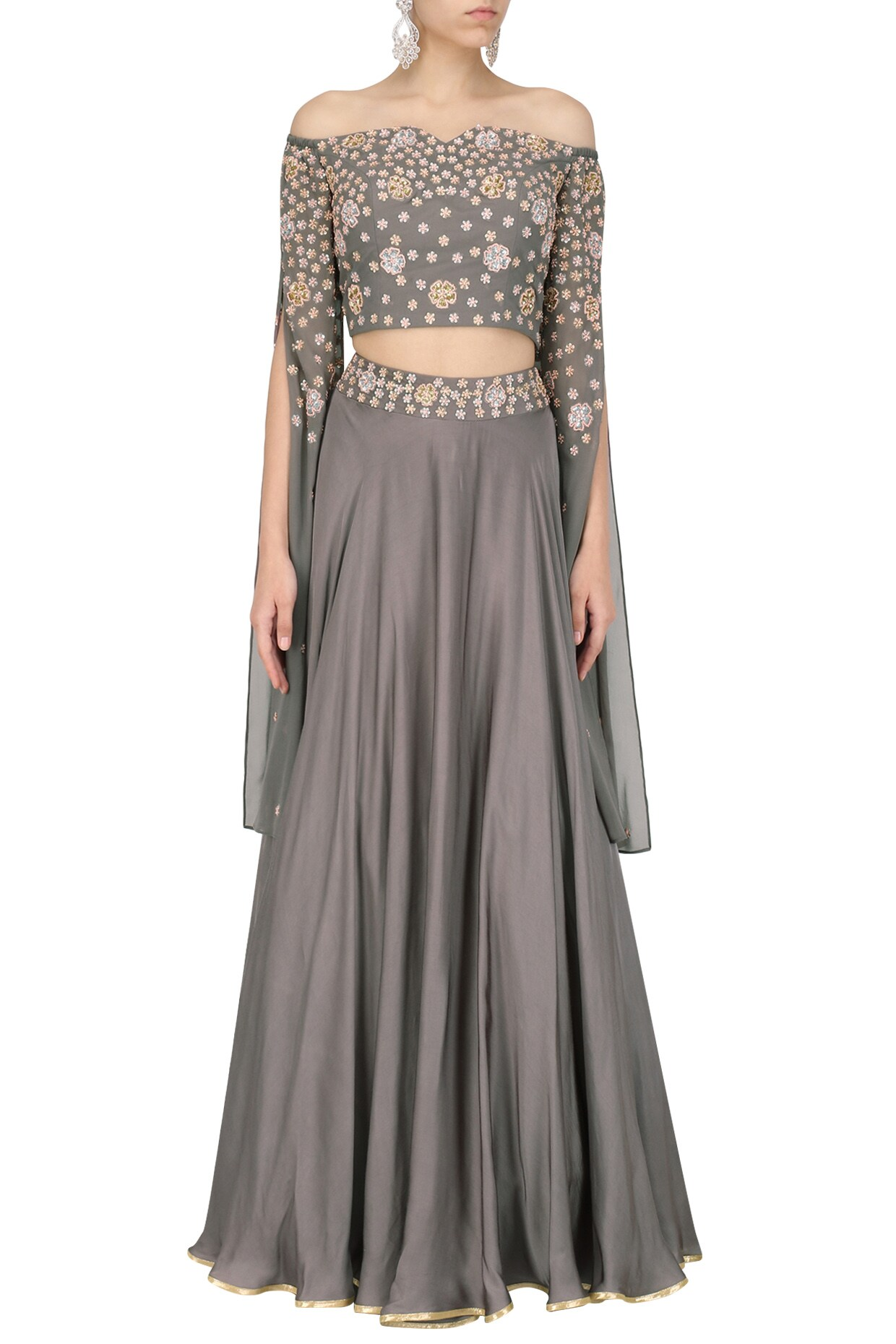 6e51198876 Grey embroidered crop top and skirt set available only at Pernia's Pop Up  Shop.