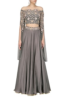 Grey Embroidered Crop Top and Skirt Set by Seema Thukral