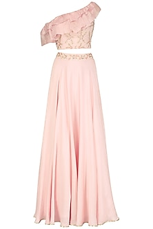 Mauve Pink One Shoulder Embroidered Crop Top and Skirt Set