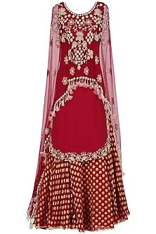 Red Embroidered Kurta and Chanderi Lehenga Set