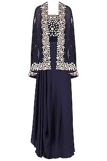 Navy Blue Embroidered Crop Top with Jacket and Cowl Drape Skirt by Seema Thukral