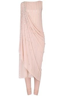 Blush Pink Embroidered Kurta with Attached Dupatta Set by Seema Thukral