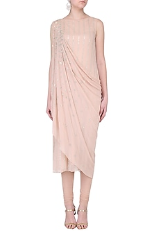 9dbeabb37be758 Blush Pink Embroidered Kurta with Attached Dupatta Set. Rose pink lehenga  and bell sleeves blouse set
