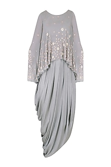 Grey Embroidered Cowl Drape Dress