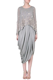 Grey Embroidered Cowl Drape Dress by Seema Thukral