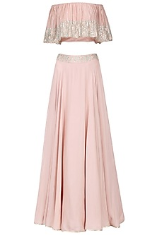 Blush Pink Embroidered Off Shoulder Croptop with Skirt Set