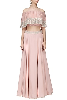 Blush Pink Embroidered Off Shoulder Croptop with Skirt Set by Seema Thukral