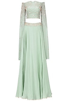 Dusky Green Embroidered Crop Top and Skirt Set