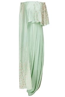 Dusky Green Embroidered Drape Dress by Seema Thukral