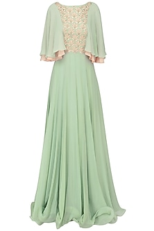 Dusky Green Embroidered Layered Sleeves Pleated Gown
