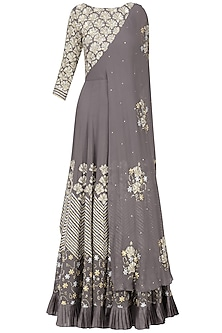 Grey Floral Embroidered Attached Dupatta Anarkali