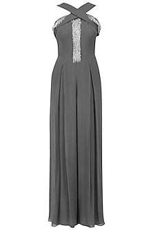 Grey Embroidered Pleated Criss-Cross Jumpsuit