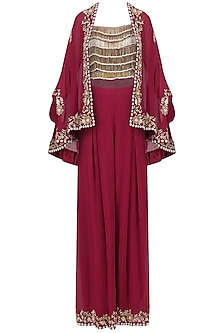 Red Tasseled Crop Top with Cape Jacket and Pants Set
