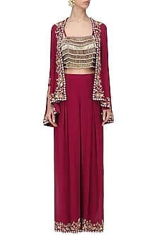 Red Tasseled Crop Top with Cape Jacket and Pants Set by Seema Thukral