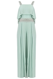 Ocean Blue Embroiderd Cold Shoulder Jumpsuit
