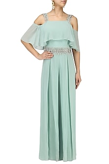 Ocean Blue Embroiderd Cold Shoulder Jumpsuit by Seema Thukral