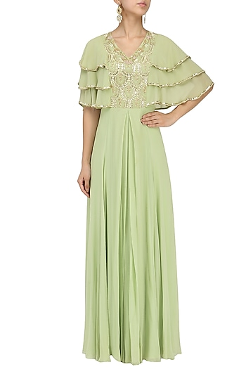Mint Embroidered Layered Pleat Gown by Seema Thukral