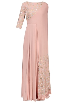 Blush Pink Floral Embroidered Attached Dupatta Anarkali