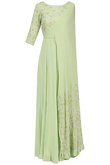Mint Floral Embroidered Attached Dupatta Anarkali