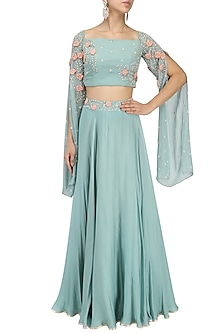 Ocean Green Embroidered Off Shoulder Croptop with Circular Skirt by Seema Thukral
