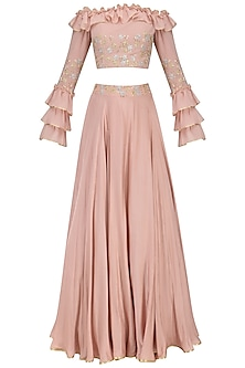 Blush Pink Off Shoulder Ruffled Croptop with Embroidered Circular Skirt