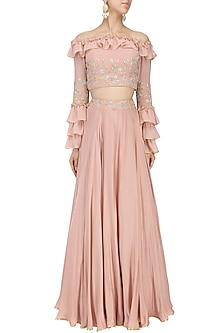 Blush Pink Off Shoulder Ruffled Croptop with Embroidered Circular Skirt by Seema Thukral