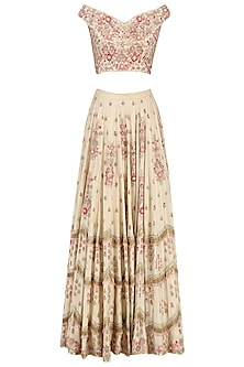 Beige Fully Embroidered Offshoulder Lehenga Set