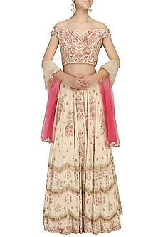 Beige Fully Embroidered Offshoulder Lehenga Set by Seema Thukral