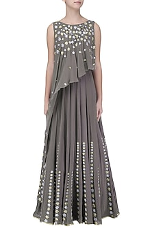 Grey Embroidered Attached Dupatta Anarkali by Seema Thukral
