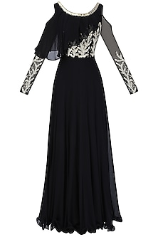 Black Embroidered Cold Shoulder Gown with Attached Ruffle