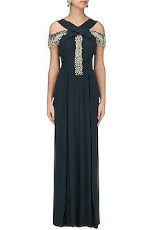 Teal Embroidered Pleated Criss-Cross Jumpsuit by Seema Thukral