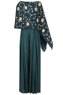 Teal Embellished Assymetric Cape with High Waisted Pleated Pants by Seema Thukral